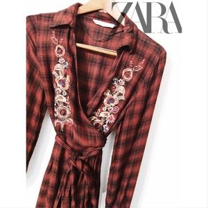 Zara flannel embroidered midi wrap dress NWOT